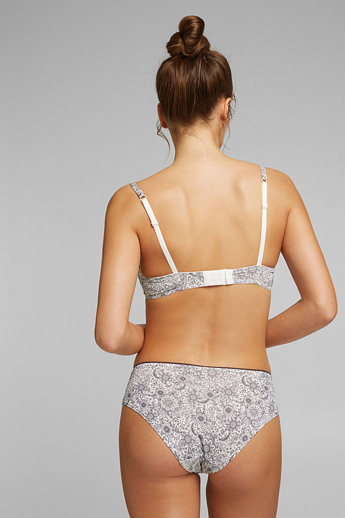 Hipster shorts with a floral print, OFF WHITE, detail image number 2