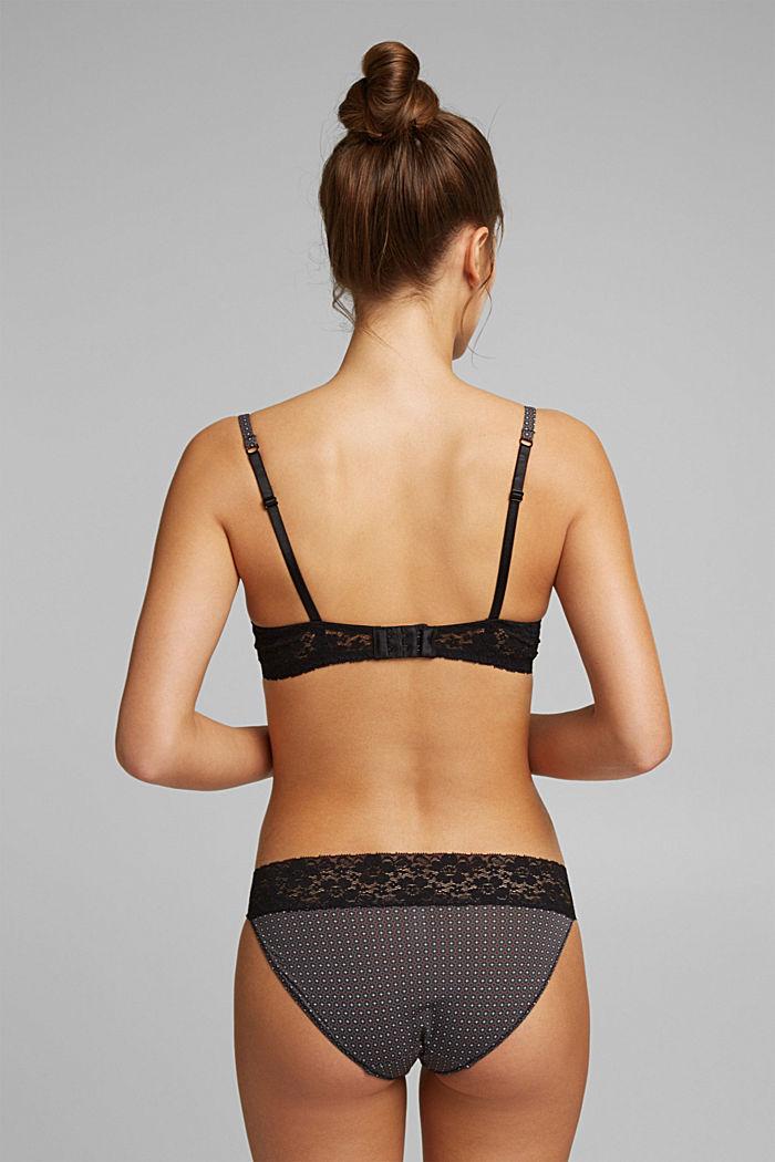 Minimalist print padded underwire bra, BLACK, detail image number 1