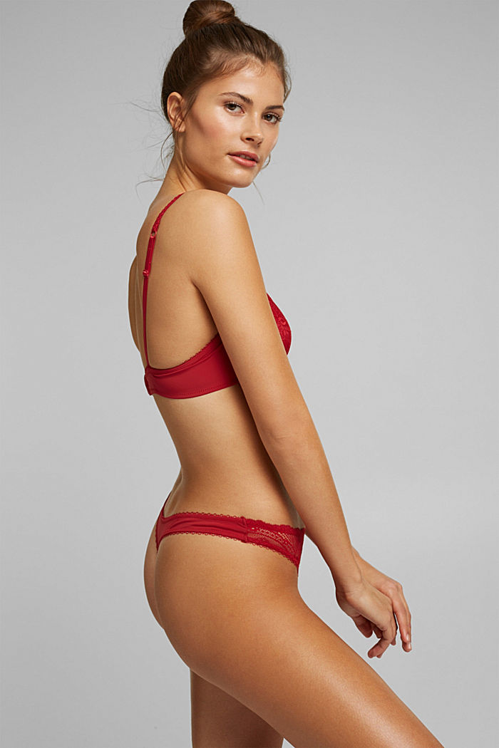 Lace hipster thong, RED, detail image number 1