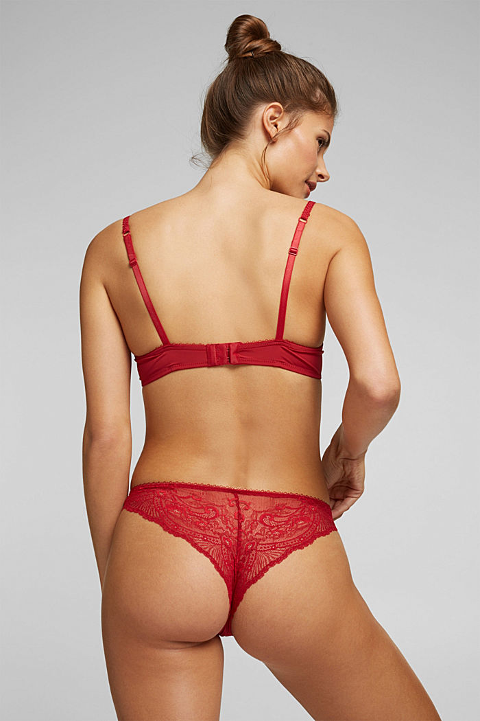 Brazilian hipster lace briefs, RED, detail image number 2