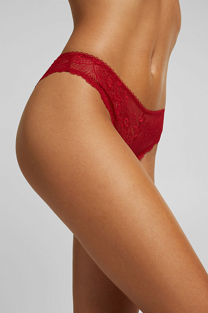 Brazilian hipster lace briefs, RED, detail image number 1