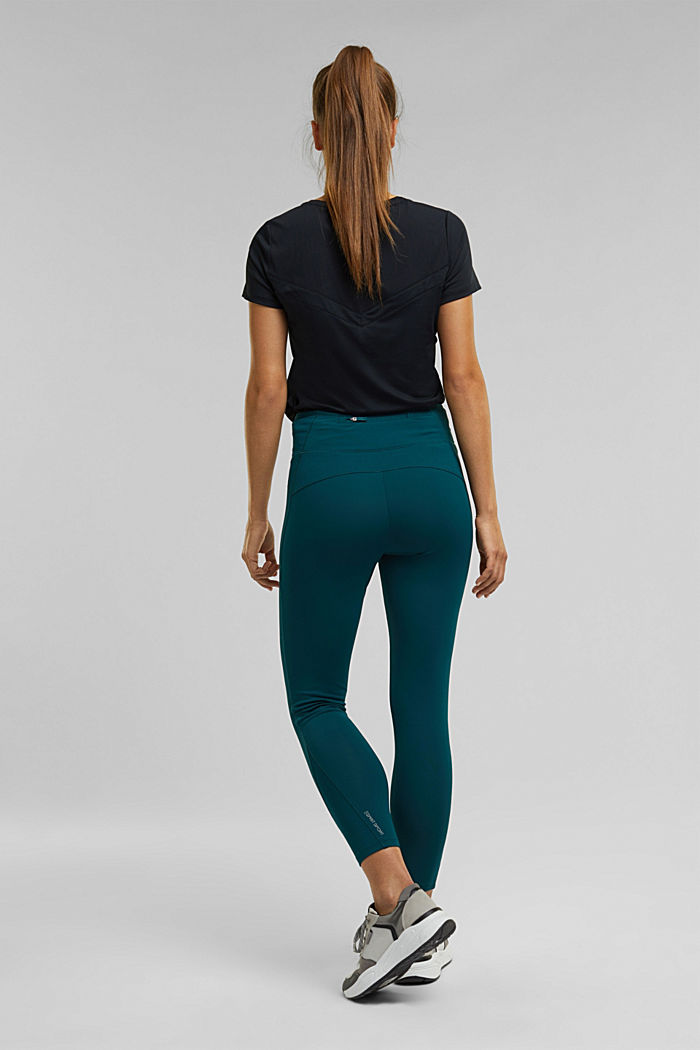 Active leggings with E-DRY, DARK TEAL GREEN, detail image number 3