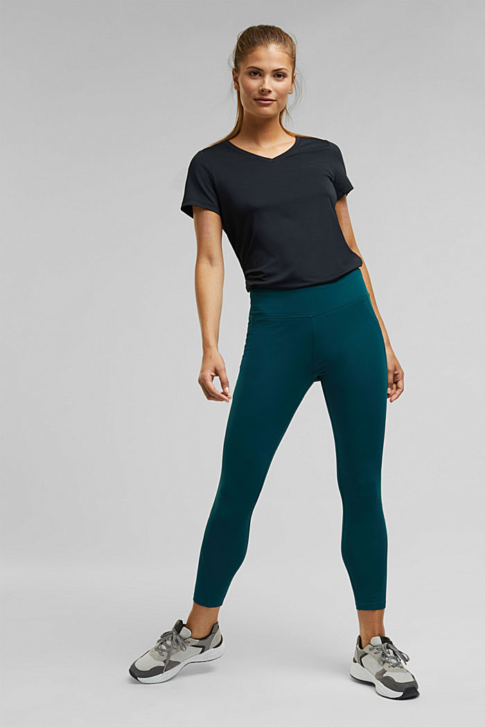 Active leggings with E-DRY, DARK TEAL GREEN, detail image number 1