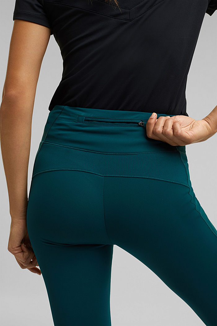Active leggings with E-DRY, DARK TEAL GREEN, detail image number 2