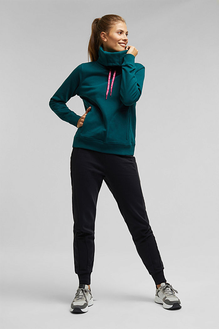 Sweater mit Organic Cotton, DARK TEAL GREEN, detail image number 1