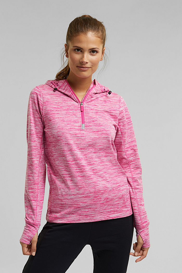 Mottled hooded sweatshirt with E-DRY, PINK FUCHSIA, detail image number 0
