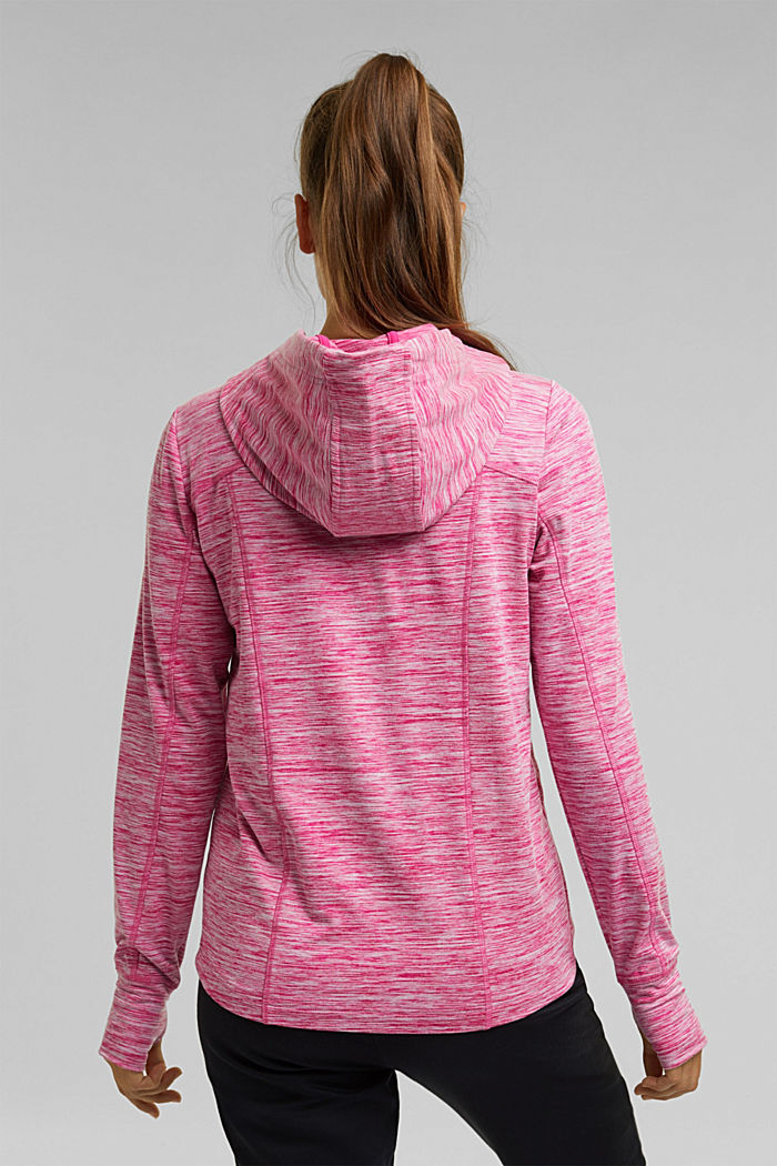 Mottled hooded sweatshirt with E-DRY, PINK FUCHSIA, detail image number 3