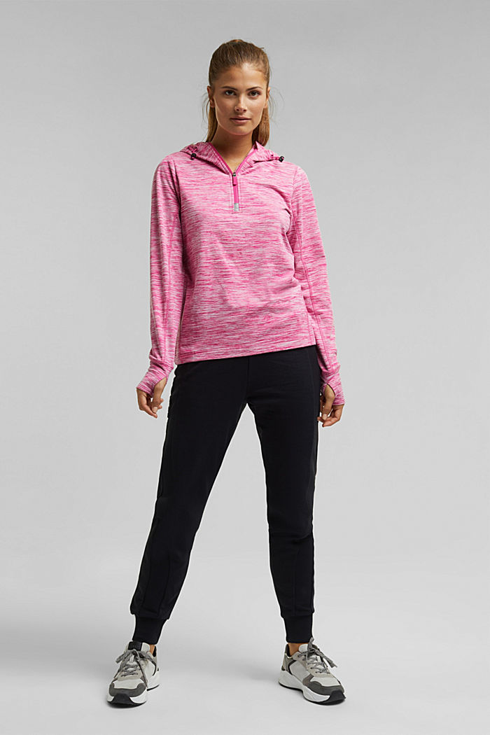 Mottled hooded sweatshirt with E-DRY, PINK FUCHSIA, detail image number 1