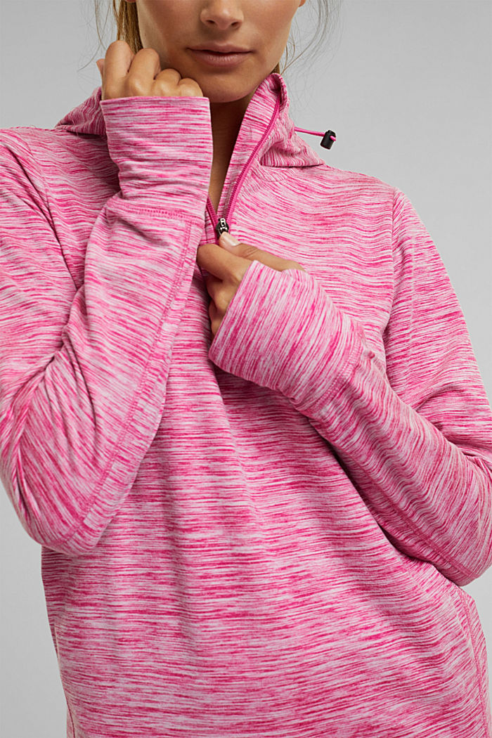 Mottled hooded sweatshirt with E-DRY, PINK FUCHSIA, detail image number 2