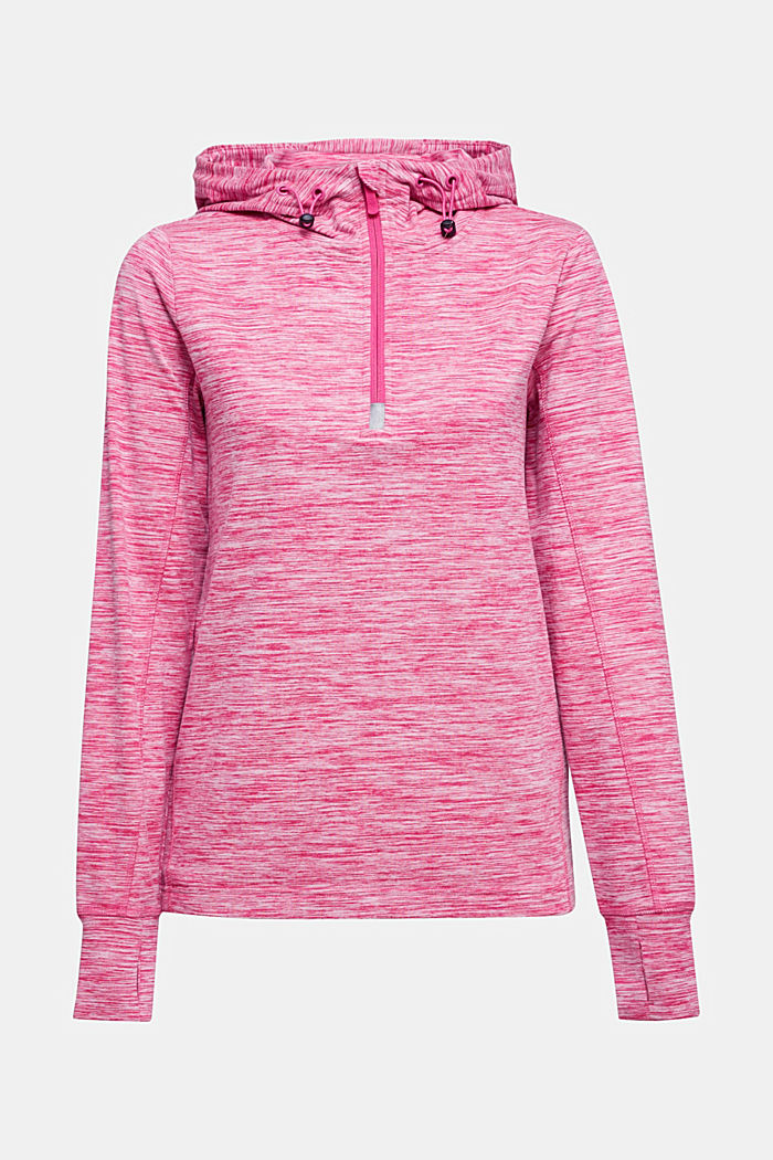 Mottled hooded sweatshirt with E-DRY, PINK FUCHSIA, overview