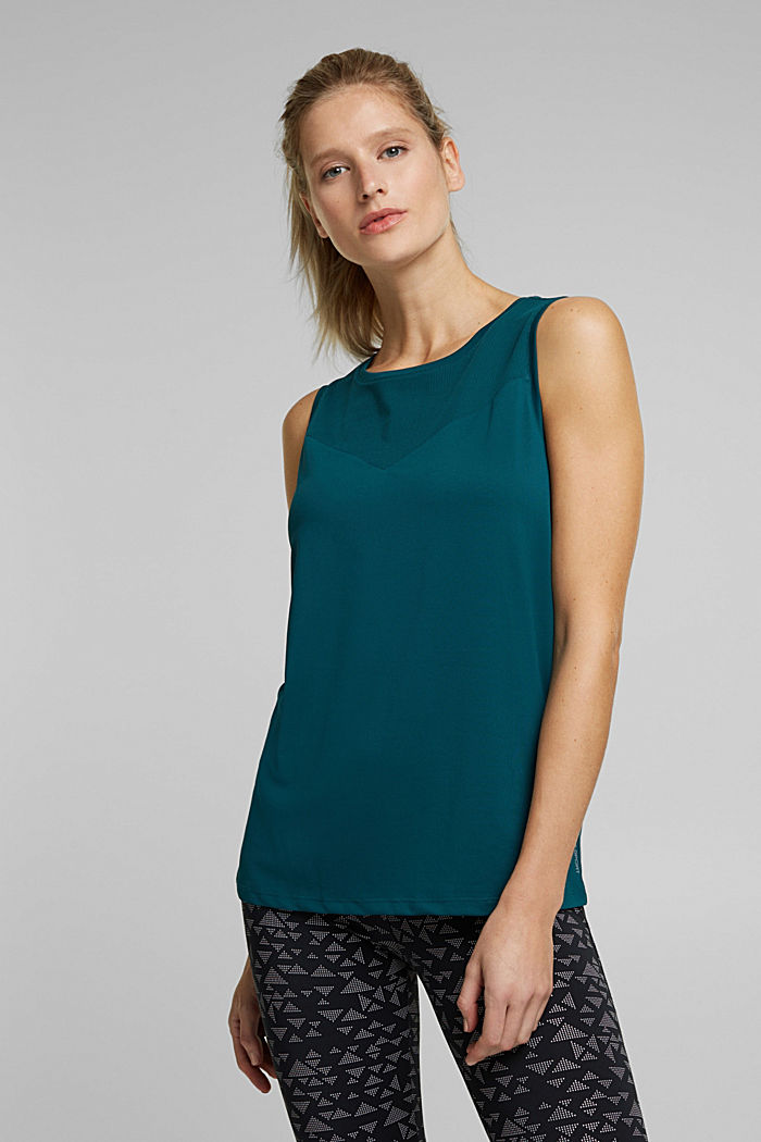 Tank Top mit E-DRY, DARK TEAL GREEN, detail image number 0