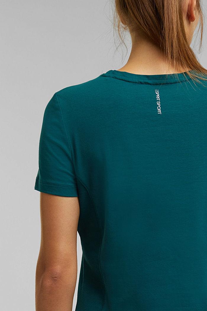 Jersey shirt met biologisch katoen, DARK TEAL GREEN, detail image number 2