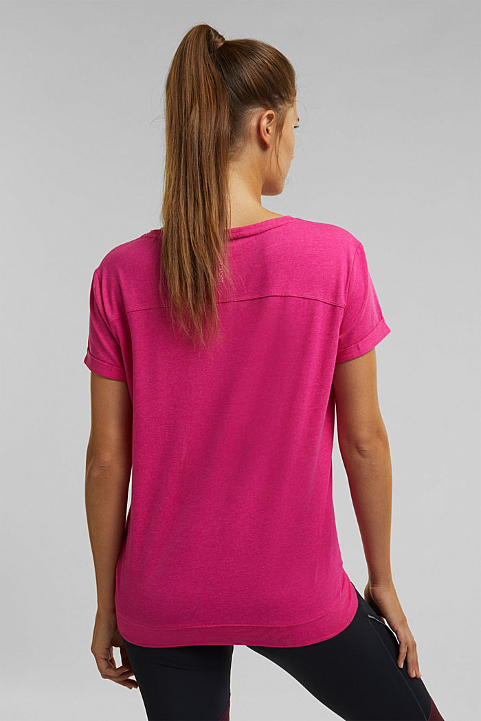 E-DRY top containing organic cotton, PINK FUCHSIA, detail image number 3