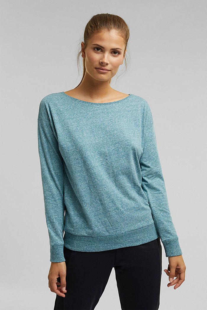 Melange long sleeve top with organic cotton