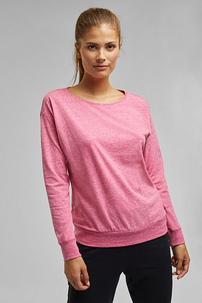 Melange long sleeve top with organic cotton, PINK FUCHSIA, detail image number 0