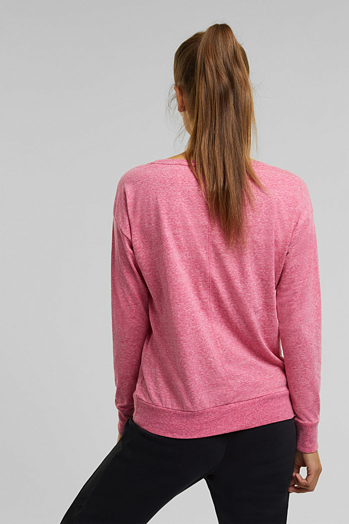 Melange long sleeve top with organic cotton, PINK FUCHSIA, detail image number 3