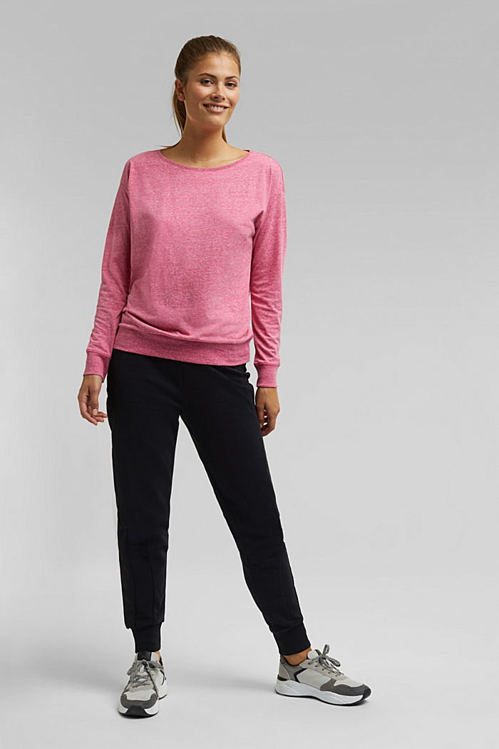 Melange long sleeve top with organic cotton, PINK FUCHSIA, detail image number 1