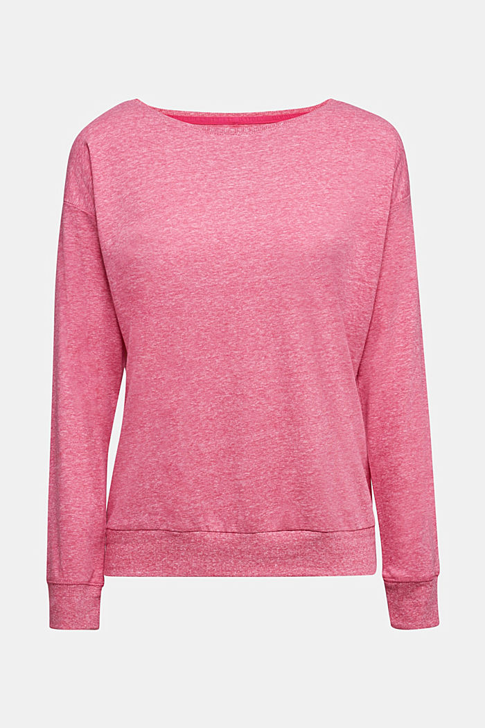 Melange long sleeve top with organic cotton, PINK FUCHSIA, detail image number 5