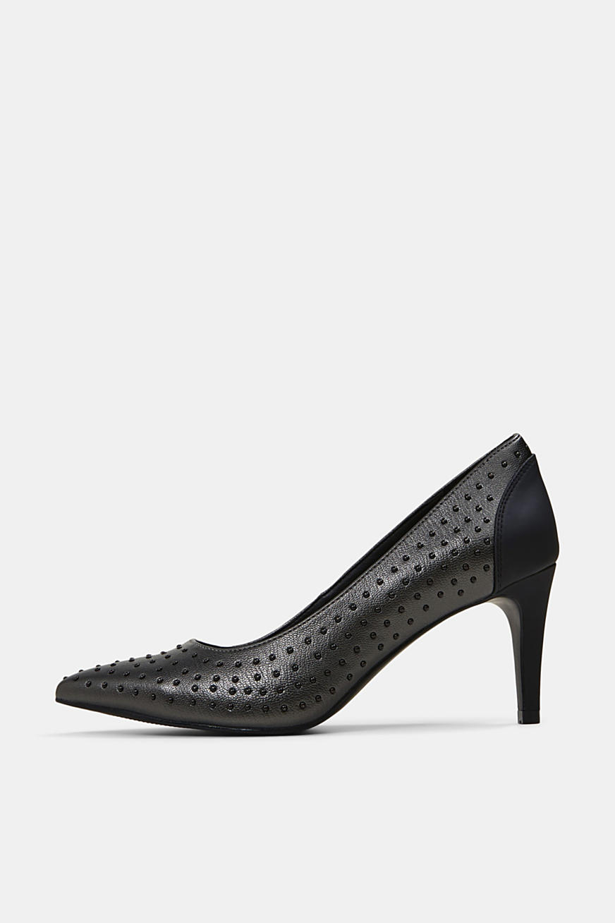 Pumps mit Nieten in Leder-Optik