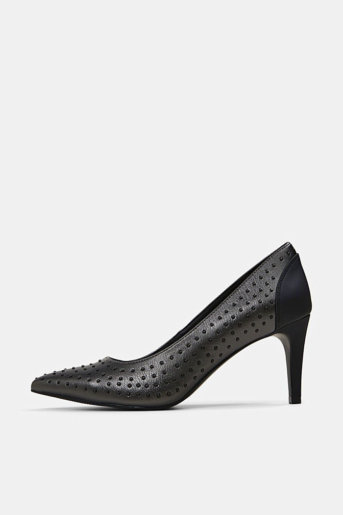 Faux leather court shoes with studs