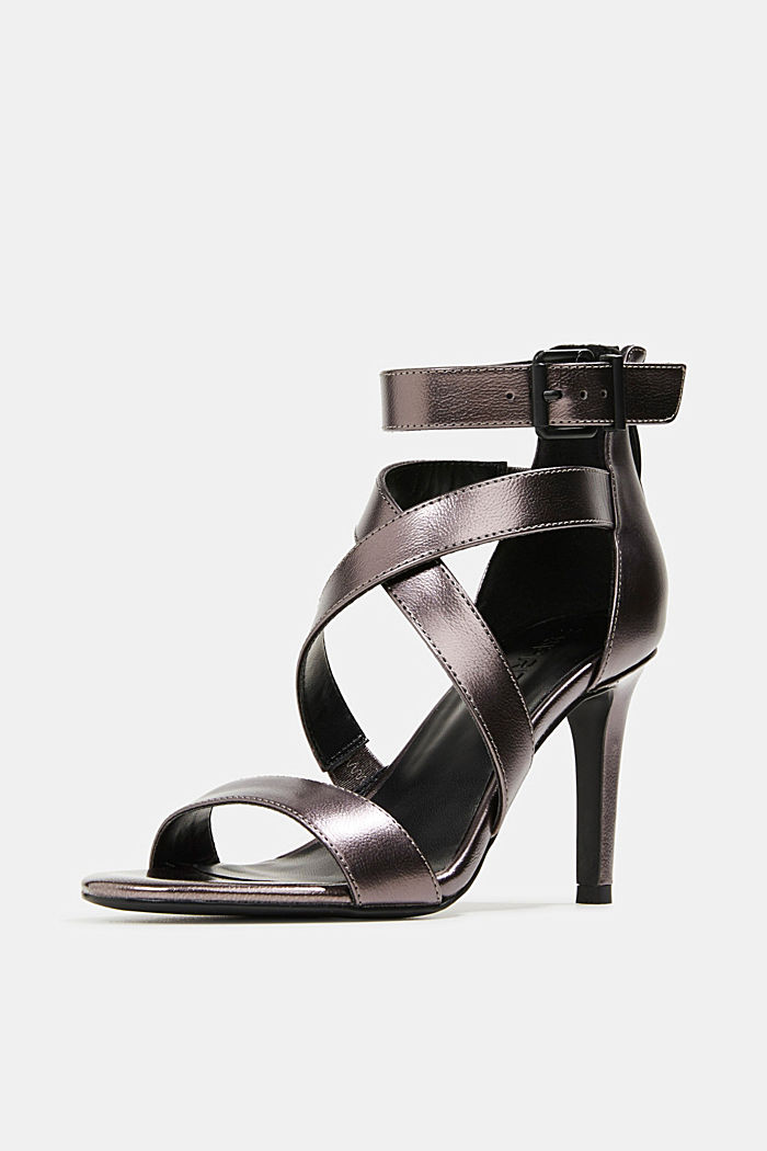 High-Heel-Sandalette im Metallic-Look, ANTHRACITE, detail image number 2