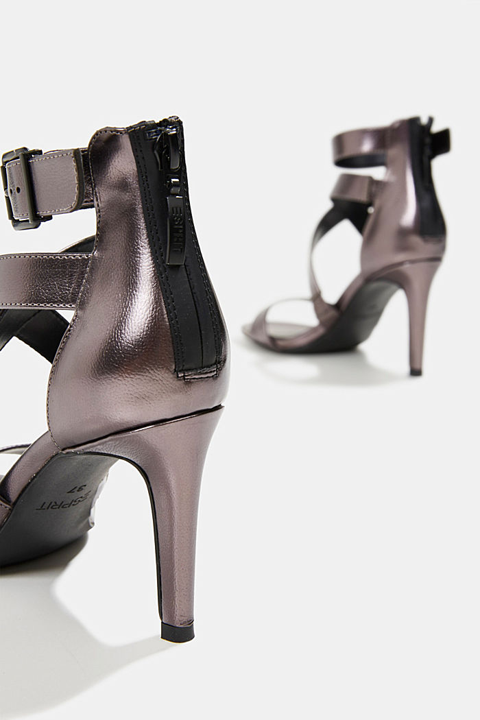 High-Heel-Sandalette im Metallic-Look, ANTHRACITE, detail image number 5