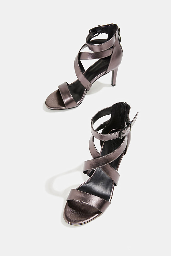 High-Heel-Sandalette im Metallic-Look, ANTHRACITE, detail image number 6