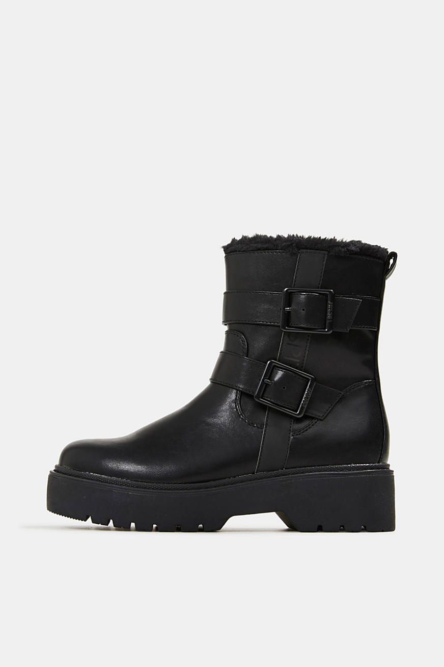 Faux leather biker boots with faux fur lining