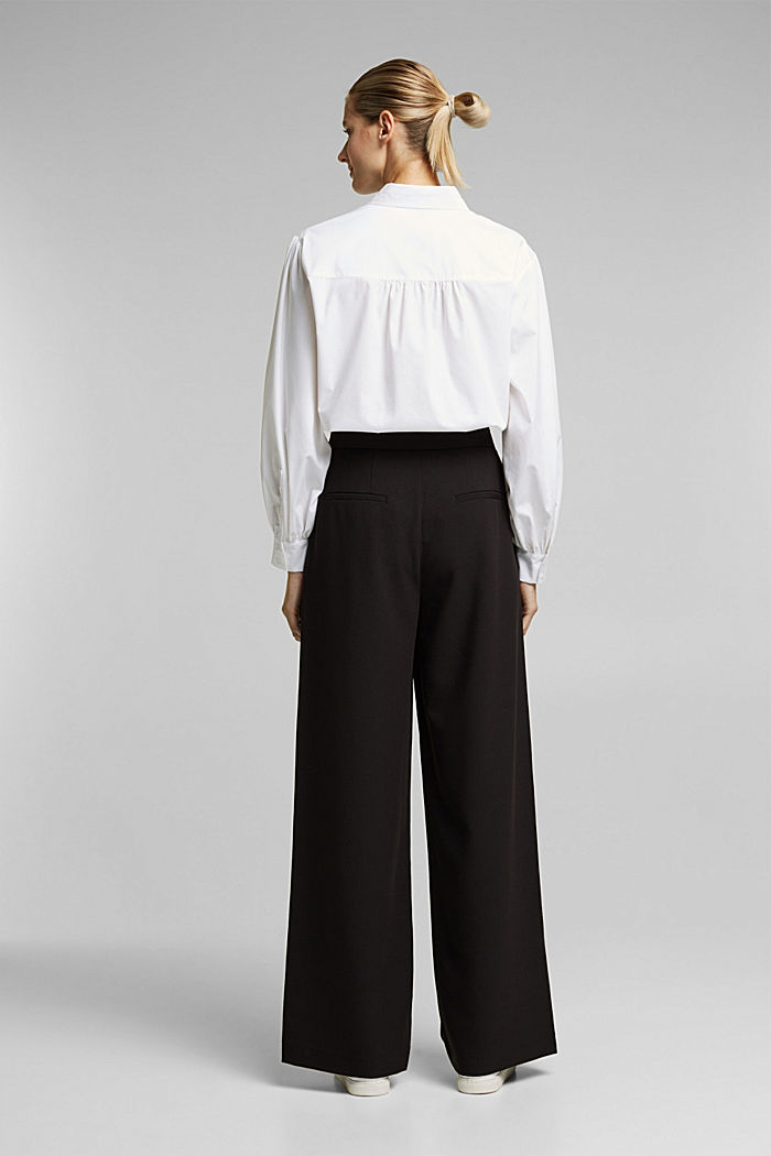 Recycled: Palazzo trousers with a satin waistband, BLACK, detail image number 3