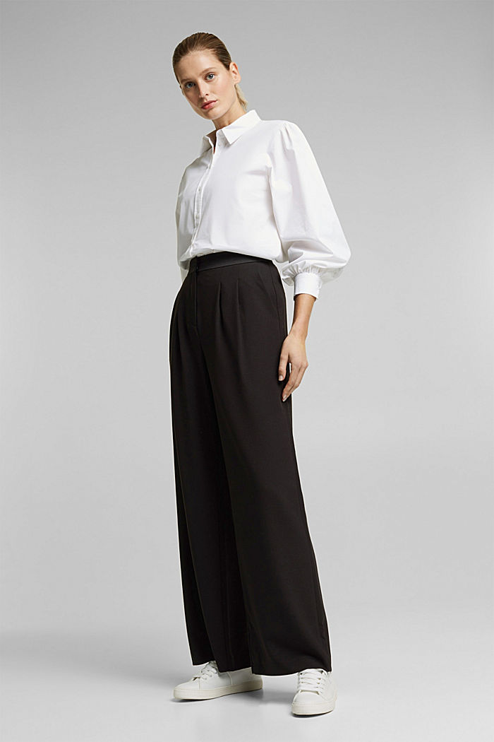 Recycled: Palazzo trousers with a satin waistband, BLACK, detail image number 1