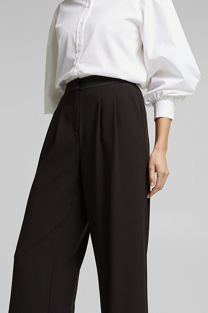 Recycled: Palazzo trousers with a satin waistband, BLACK, detail image number 2