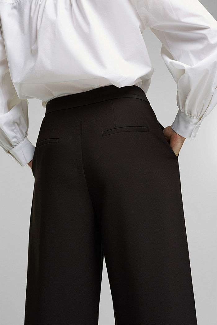 Recycled: Palazzo trousers with a satin waistband, BLACK, detail image number 5