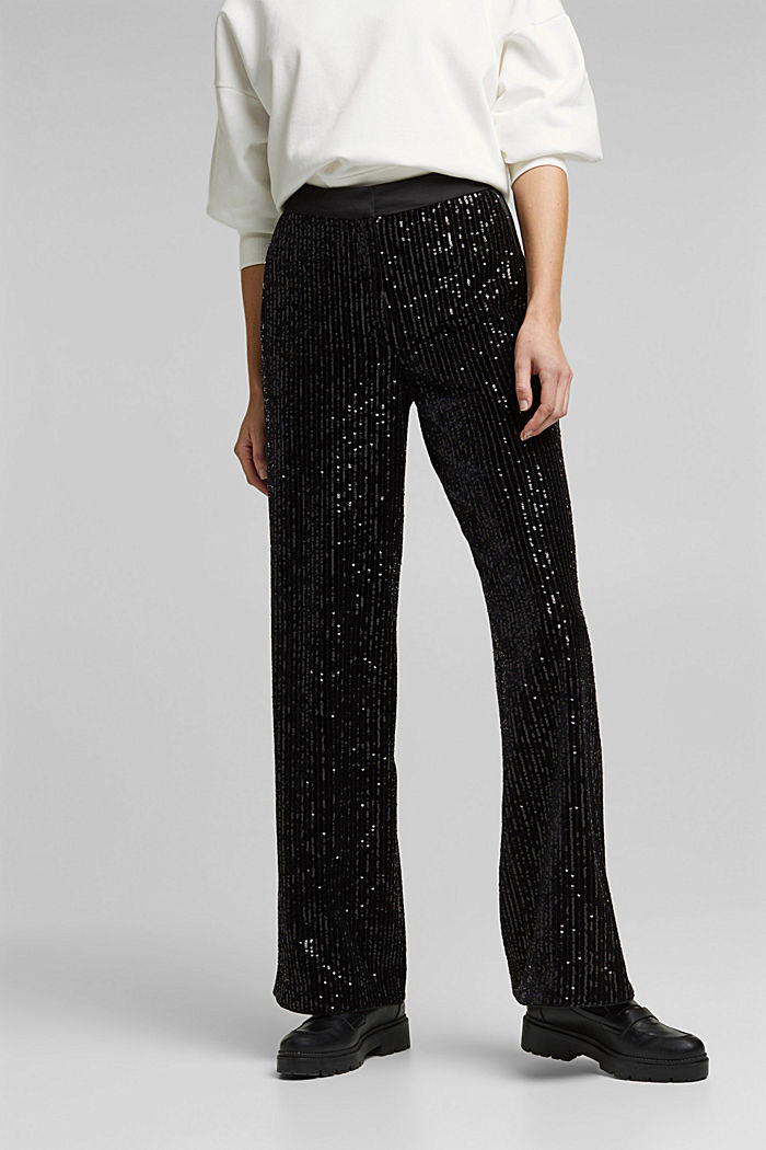Velvet trousers with sequins, BLACK, detail image number 0