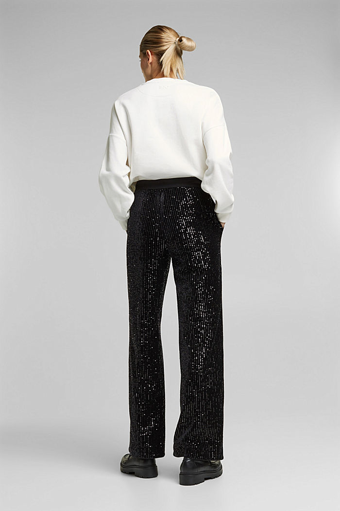 Velvet trousers with sequins, BLACK, detail image number 3