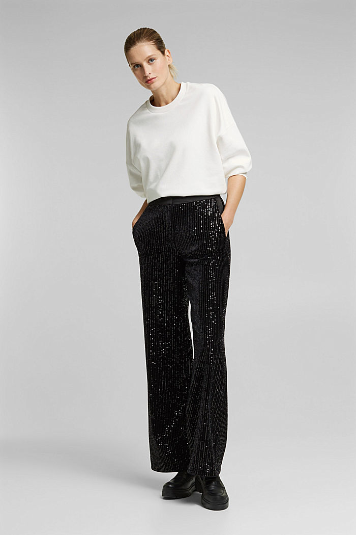 Velvet trousers with sequins, BLACK, detail image number 1