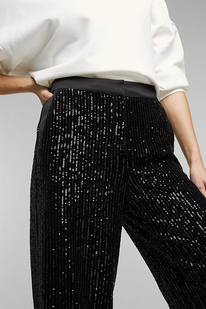 Velvet trousers with sequins, BLACK, detail image number 2