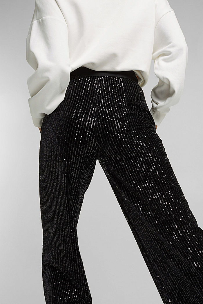 Velvet trousers with sequins, BLACK, detail image number 4
