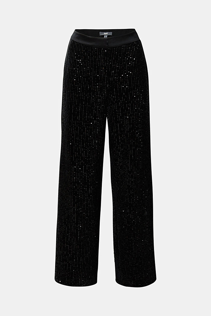 Velvet trousers with sequins, BLACK, detail image number 6