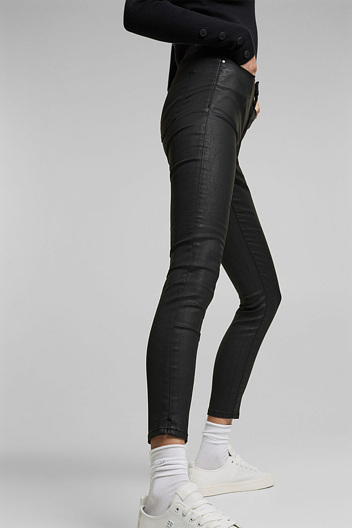 Coated stretch jeans, BLACK RINSE, detail image number 4