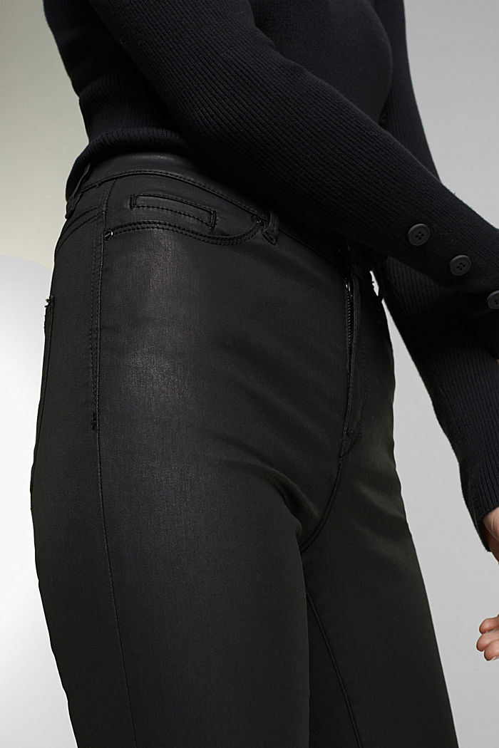 Coated stretch jeans, BLACK RINSE, detail image number 1
