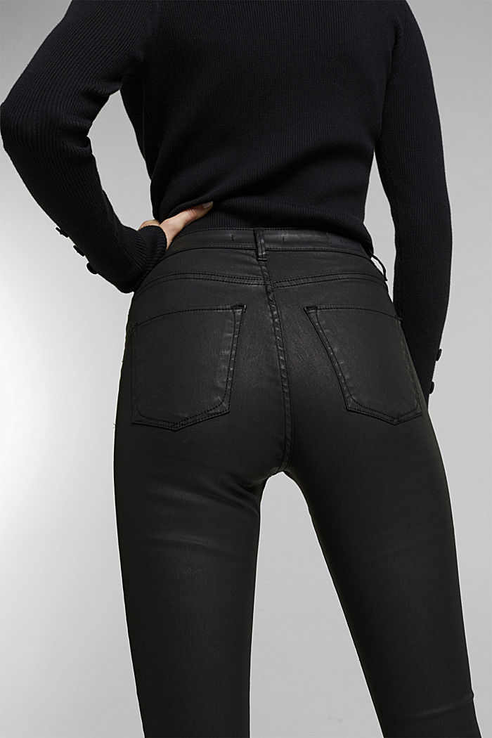Coated stretch jeans, BLACK RINSE, detail image number 3