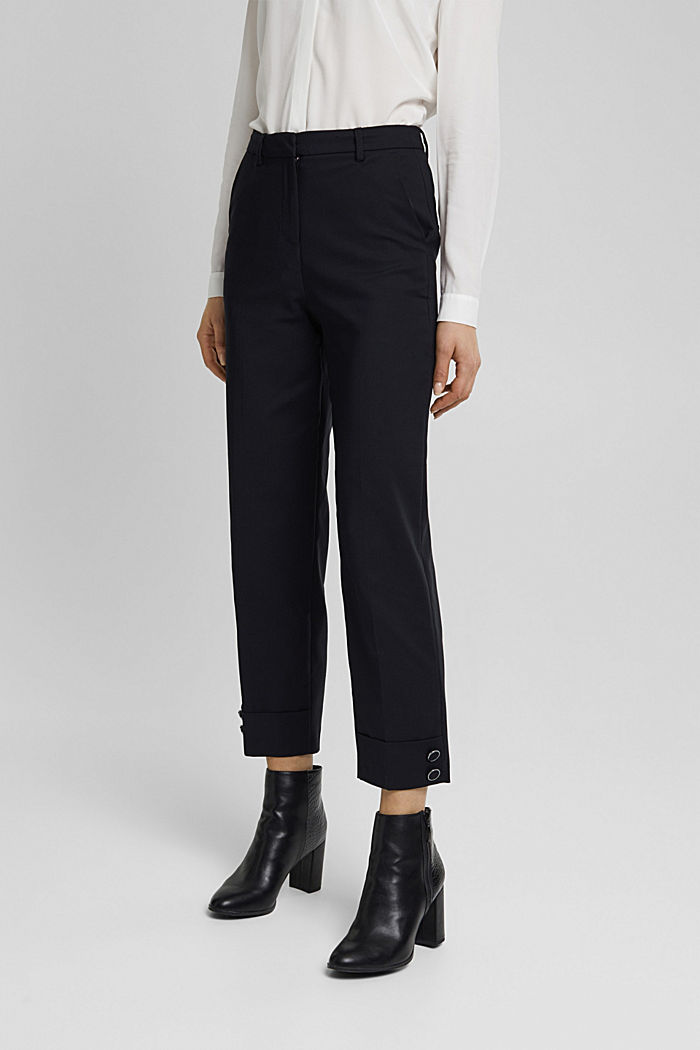High-rise trousers with organic cotton, BLACK, detail image number 0