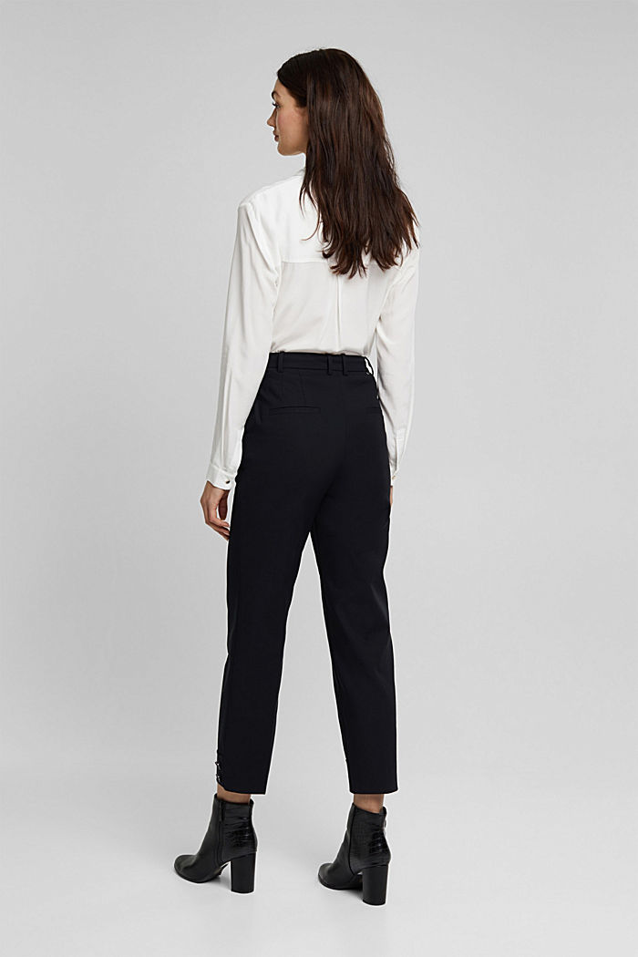 High-rise trousers with organic cotton, BLACK, detail image number 3