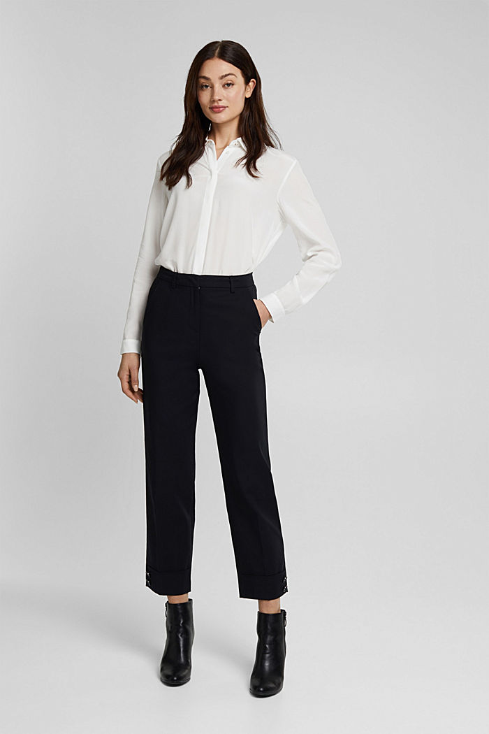 High-rise trousers with organic cotton, BLACK, detail image number 6