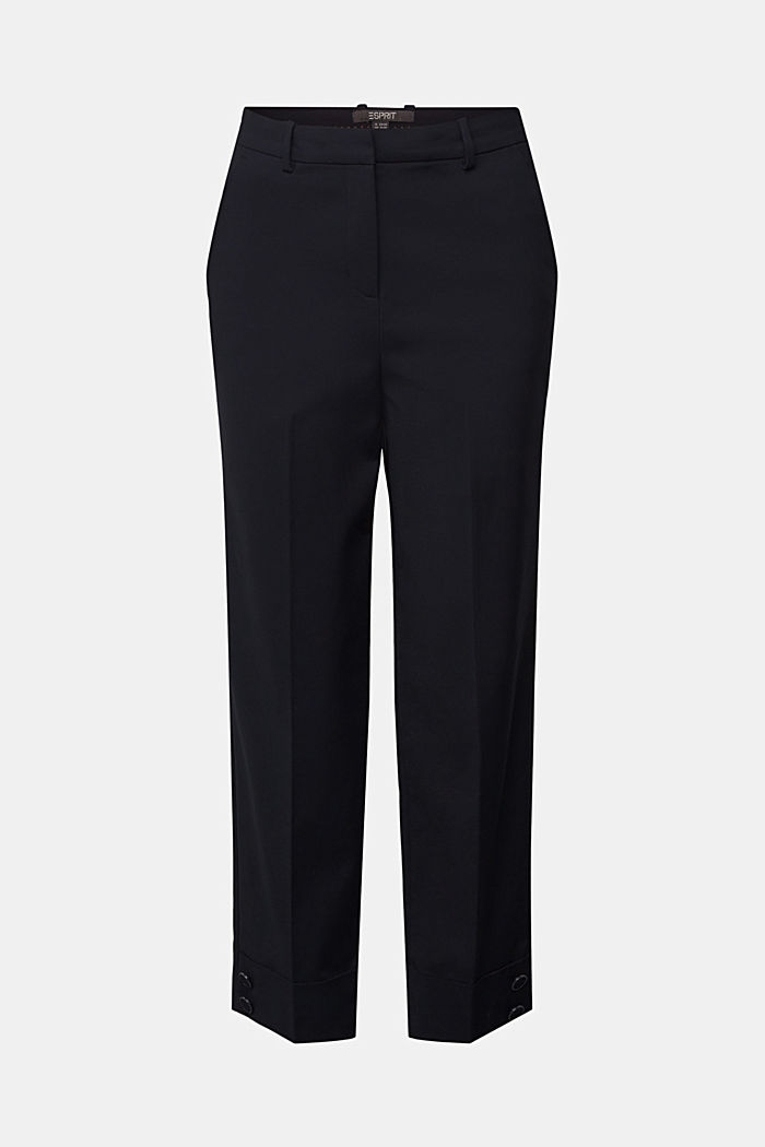 High-rise trousers with organic cotton, BLACK, detail image number 7