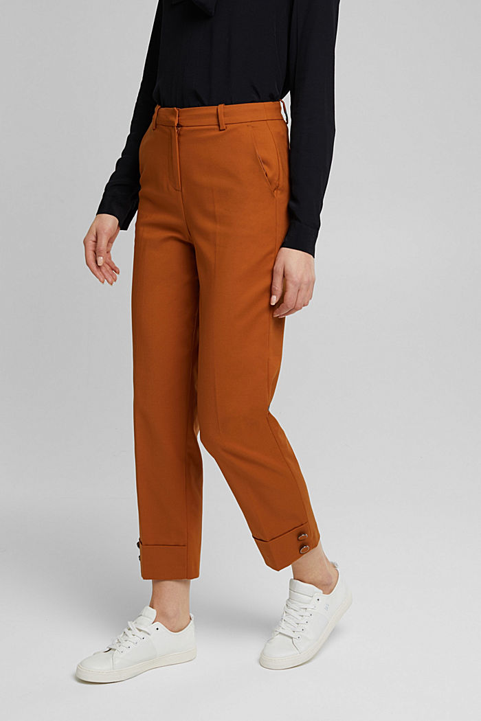 High-rise trousers with organic cotton, RUST BROWN, detail image number 0
