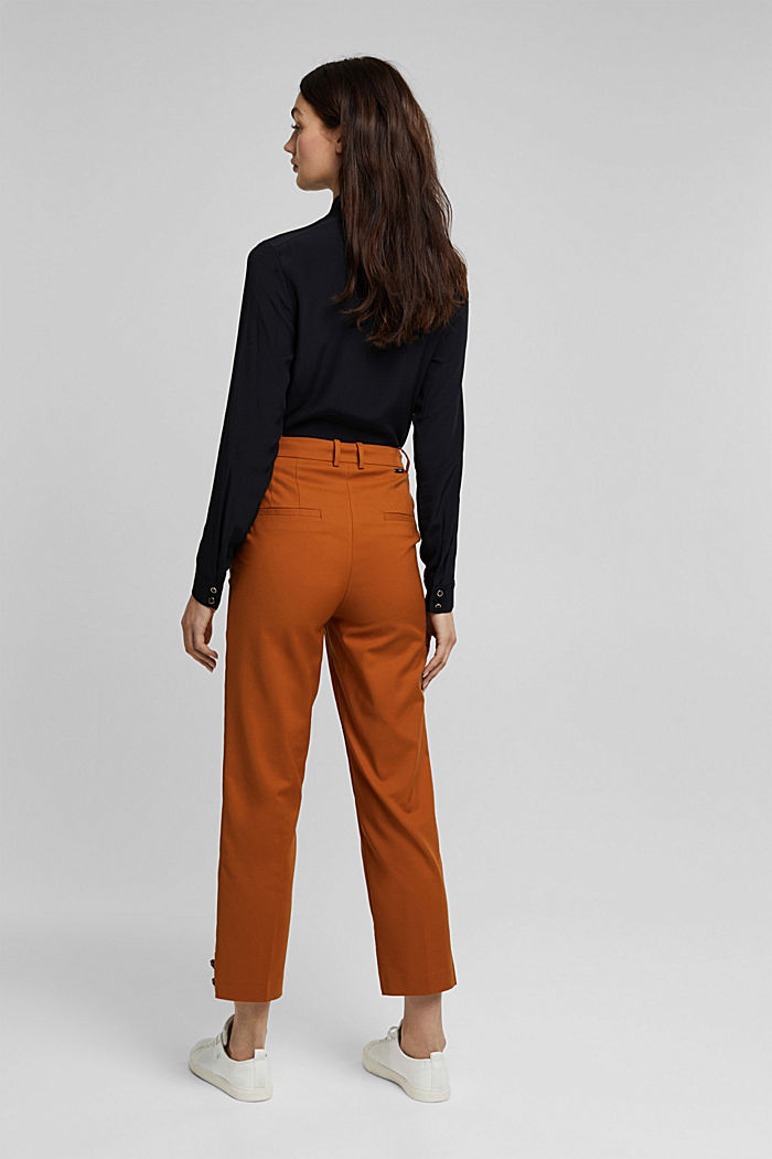 High-rise trousers with organic cotton, RUST BROWN, detail image number 3