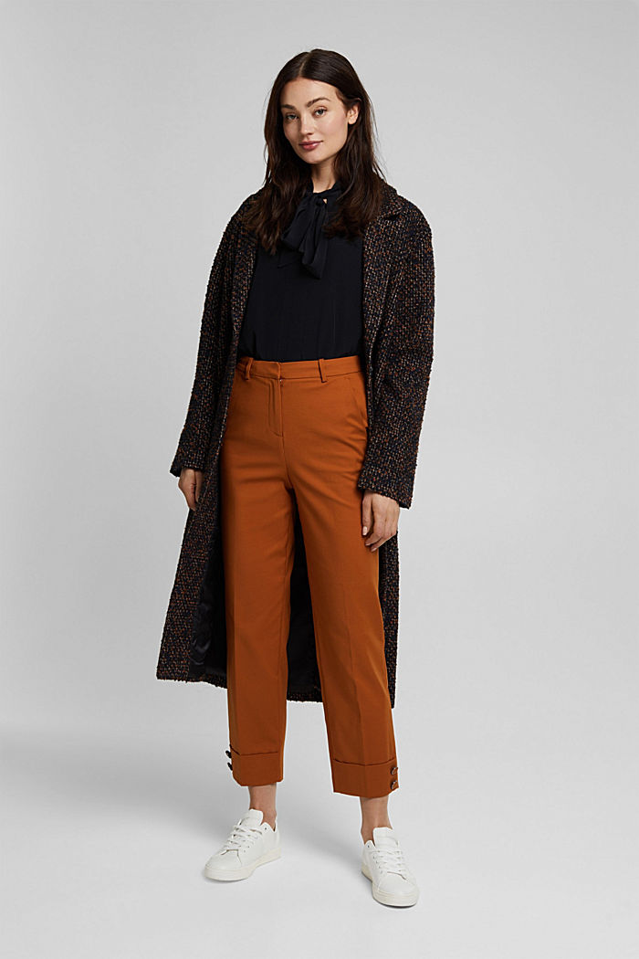 High-rise trousers with organic cotton, RUST BROWN, detail image number 1