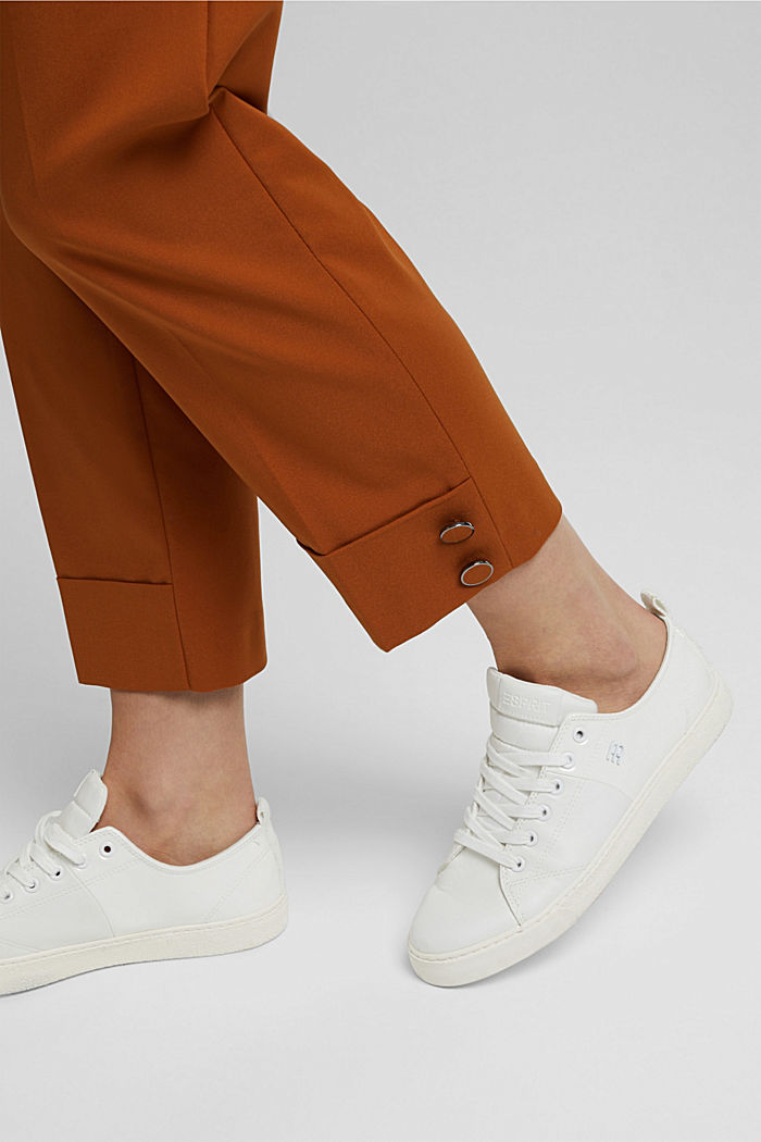 High-rise trousers with organic cotton, RUST BROWN, detail image number 2