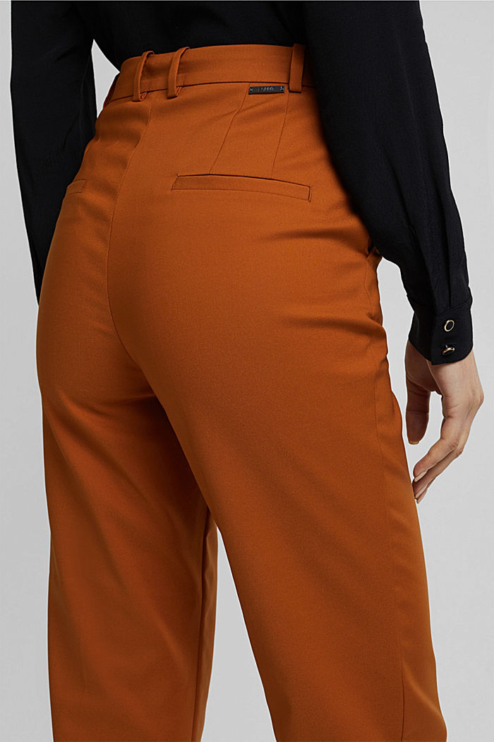 High-rise trousers with organic cotton, RUST BROWN, detail image number 5